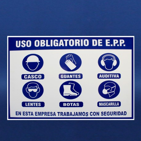Letrero uso EPP sobre triplay 60x80cms.