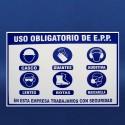 Letrero uso EPP sobre triplay 60x80cm.